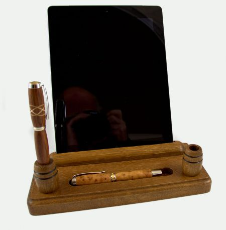 Desk Set with iPad holder dark oak