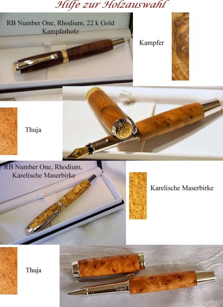 Designer pens made of precious wood